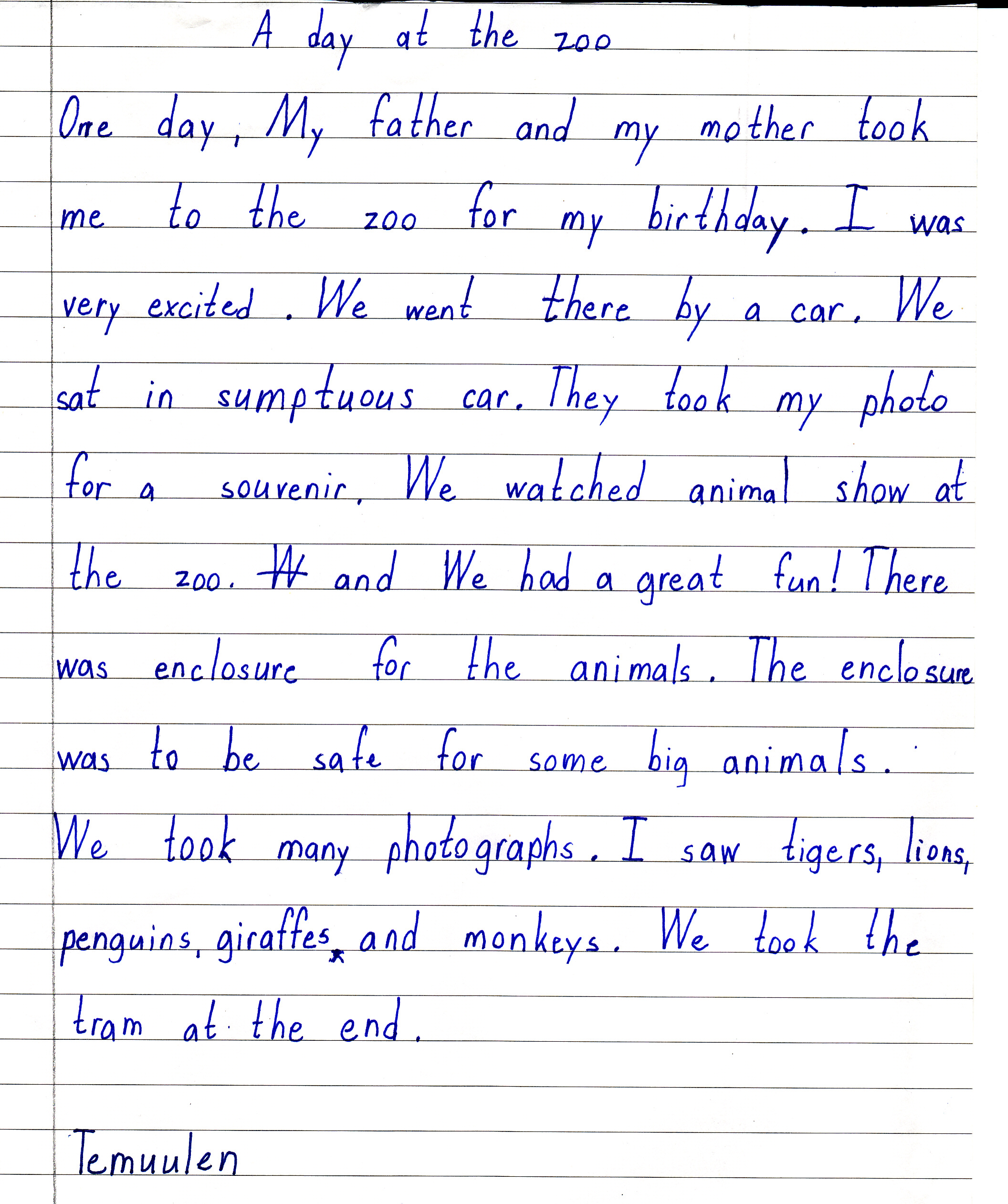 Paragraph writing visit to a zoo